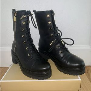 Michael Kors Anaka Leather Combat Boot, 6.5